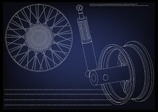 Wheel and shock absorber on a blue. Background Stock Images