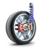 Wheel, shock absorber and brake pads. Isolated Royalty Free Stock Images