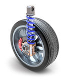 Wheel, shock absorber and brake pads. 3D image Royalty Free Stock Image
