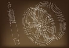 Wheel and shock absorber on a brown. Background Royalty Free Stock Images