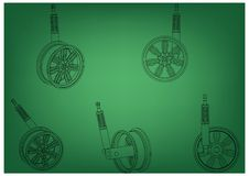 Wheel with shock absorber on a green. Background. 3d model Royalty Free Stock Photo