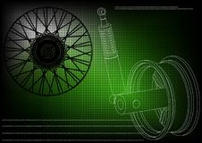 Wheel and shock absorber on a green. Background Royalty Free Stock Photography