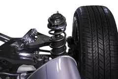 Wheel and shock absorber Royalty Free Stock Photography