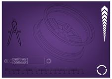 Wheel and shock absorber on a purple. Background Royalty Free Stock Photo