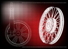 Wheel and shock absorber on a red. Background Stock Photography