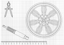 Wheel and shock absorber on a white. Background Stock Photo