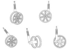Wheel with shock absorber on a white. Background. 3d model Royalty Free Stock Photos