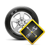 Wheel and sign, vector Royalty Free Stock Photography