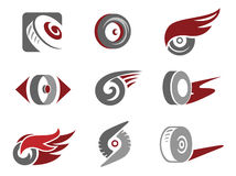 Wheel signs. Set of rolling wheel symbols Royalty Free Stock Image