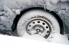 Wheel in snow Royalty Free Stock Photo