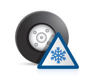 Wheel and snowflake sign illustration design Royalty Free Stock Photo