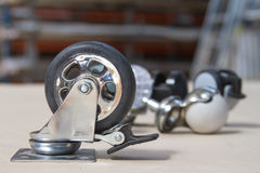 Wheel for sofa and tables. Roller for furniture. Royalty Free Stock Photo