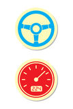 Wheel and Speedometer Icons Stock Photo