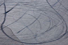 Wheel spin marks. On asphalt stock photo