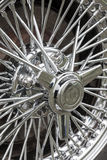 Wheel spokes. Abstract detail of a cars spoked wheel showing chromework Royalty Free Stock Photography