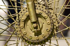 Wheel with spokes from the bike. It revolves at the expense of human power royalty free stock photos