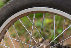 Wheel spokes. Close up shot of the spokes of a motorcycle wheel royalty free stock photography