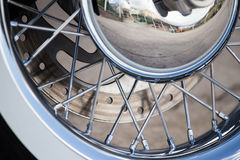 Wheel on a sport motobike Royalty Free Stock Image