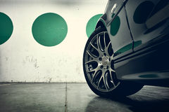 Wheel of a sports car Stock Photo