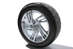 Wheel with steel rim over the white background.  Stock Photo