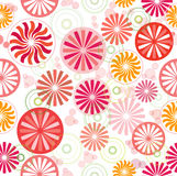 Wheel & Sunflower Seamless. Seamless pattern with wheel, round and sunflower design, warm colors, vector illustration Stock Images