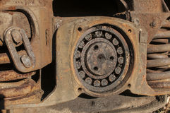 Wheel suspension of railway wagon Stock Photo