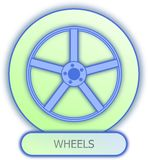 Wheel symbol and icon. Commercial icons and symbols of car parts - Wheels Royalty Free Stock Photo