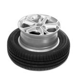Wheel and tire for a car. Royalty Free Stock Images