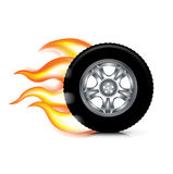 Wheel/tire and fire flames isolated on white Royalty Free Stock Photo