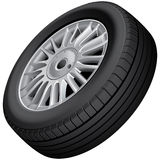 Wheel and tire isolated Stock Photography