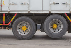 Wheel and tire of truck and trailers Stock Images
