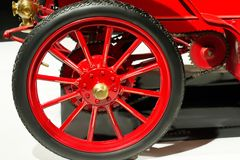 Wheel with tire of vintage car close up royalty free stock image
