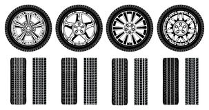 Wheel - Tires Alloy Rims and Tire Tracks Royalty Free Stock Photos