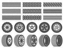 Wheel tires. Car tire tread tracks, motorcycle racing wheels icons and dirty tires track vector illustration set royalty free illustration