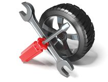 Wheel and Tools. 3d image on white background Royalty Free Stock Image
