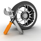 Wheel and Tools. 3D image Wheel and Tools. Car service Royalty Free Stock Photos