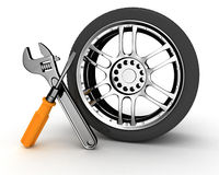 Wheel and Tools Royalty Free Stock Images