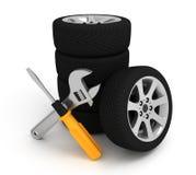 Wheel and Tools Stock Photo