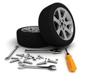 Wheel and Tools. Car service.  3D image Stock Image