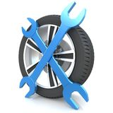 Wheel and Tools Royalty Free Stock Photography