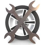 Wheel and Tools Stock Photo