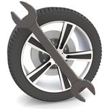 Wheel and Tools Royalty Free Stock Image