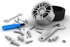 Wheel and Tools. Car service. 3D image Royalty Free Stock Images