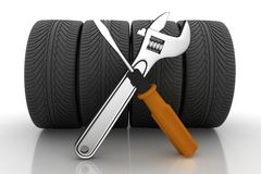Wheel and Tools. Car service Stock Photography