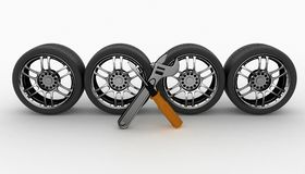 Wheel and Tools. Car service Royalty Free Stock Photography