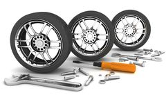 Wheel and Tools. Car service. Isolated 3D image Stock Images