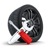 Wheel and tools Stock Images