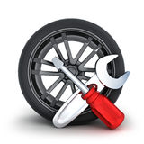 Wheel and tools Stock Image