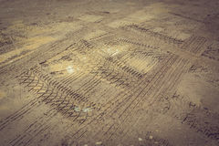 Wheel trace off road. On muddy soil Stock Photography