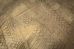 Wheel trace off road. On muddy soil Royalty Free Stock Photos